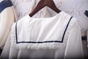 Image 4 - Японские белые рубашки Лолиты, женские винтажные кружевные топы принцессы с рюшами, Подростковая блузка с матросским воротником и пуговицами, милая школьная форма