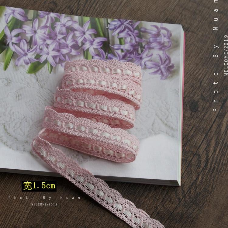 2 метра, 1,5 см, ширина, розовая Красивая хлопковая лента ручной работы в стиле пэчворк, хлопковая кружевная лента, хлопковая кружевная отделк...