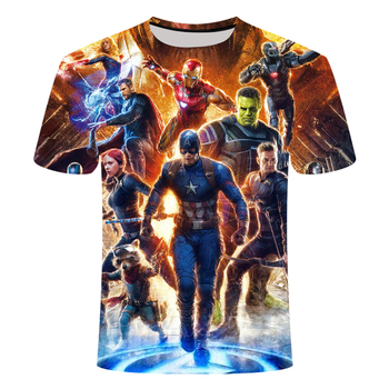 3D Short Sleeve Defense Avengers 4 3D Print T-Shirt Battle Black Widow Steel Man Raytheon Men's T-Shirt Short Sleeve Top