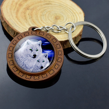 New Fashion Wolf Keychain Wooden Key Chain Stuff Wood Jewelry Loyalty Couple Wolves Animal Rings