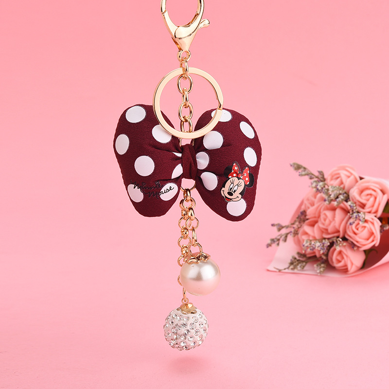 Accessories Woman Cute 2020 New Korean Mickey Bow Keychain Wave Point Pillow Knot Pearl Key Spike Tassel Pendant Keyring image