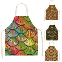 Mermaid Scales Kitchen Aprons Unisex Cooking Catering Work Apron Tabard Belt Halterneck catering business