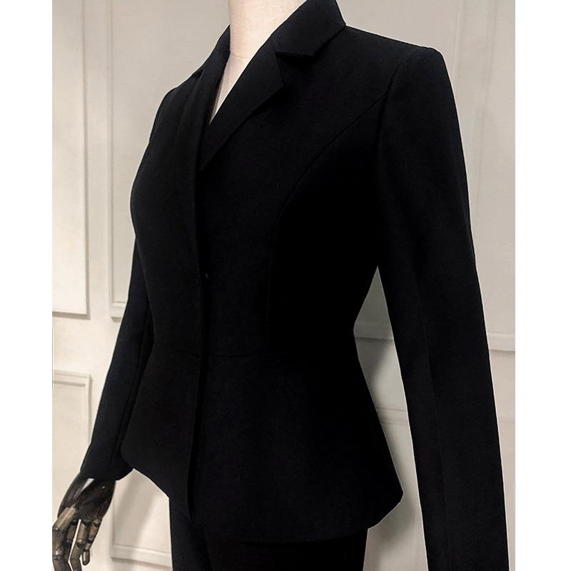 Suits Women's Slim Women's Office Business Formal Wear Formal Suits 2 Piece Set Black White Women's Suit
