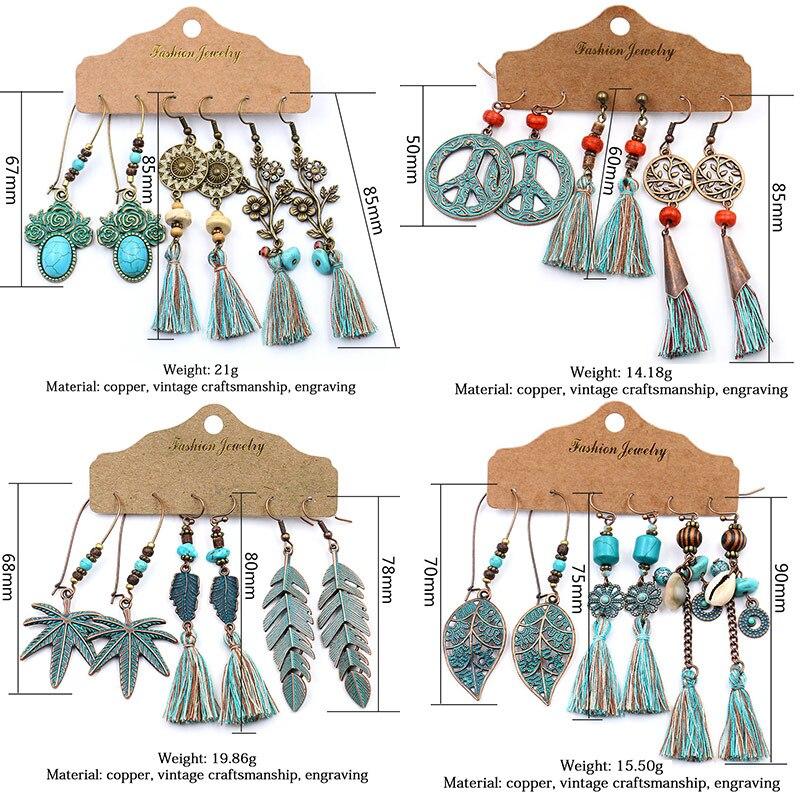 New Fashion Bohemian Tassel Earrings for Women Vintage Cotton Silk Fabric Long Ethnic Fringe Drop Earrings 2020 Female Jewelry