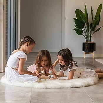 Czarny biały niebieski ładny zielony faux futro obszar dywan okrągły włochaty dywan typu shaggy prostota w stylu nordyckim zwykły tapete home decor kryty szary mat dywan