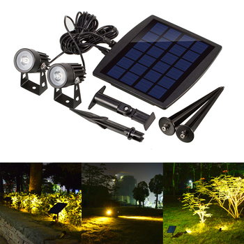 цена на Landscape Lights Outdoor Solar Powered Light Ultra-bright Submersible Lamp 2 LED Waterproof Spotlight for Garden /Lawn / Patio