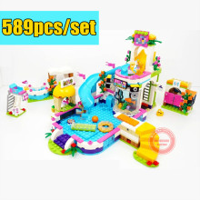 New Lepin 01013 Girls club The Heartlake Summer Pool Set Compatible with legoe friends 41313 model Educational Building Bricks