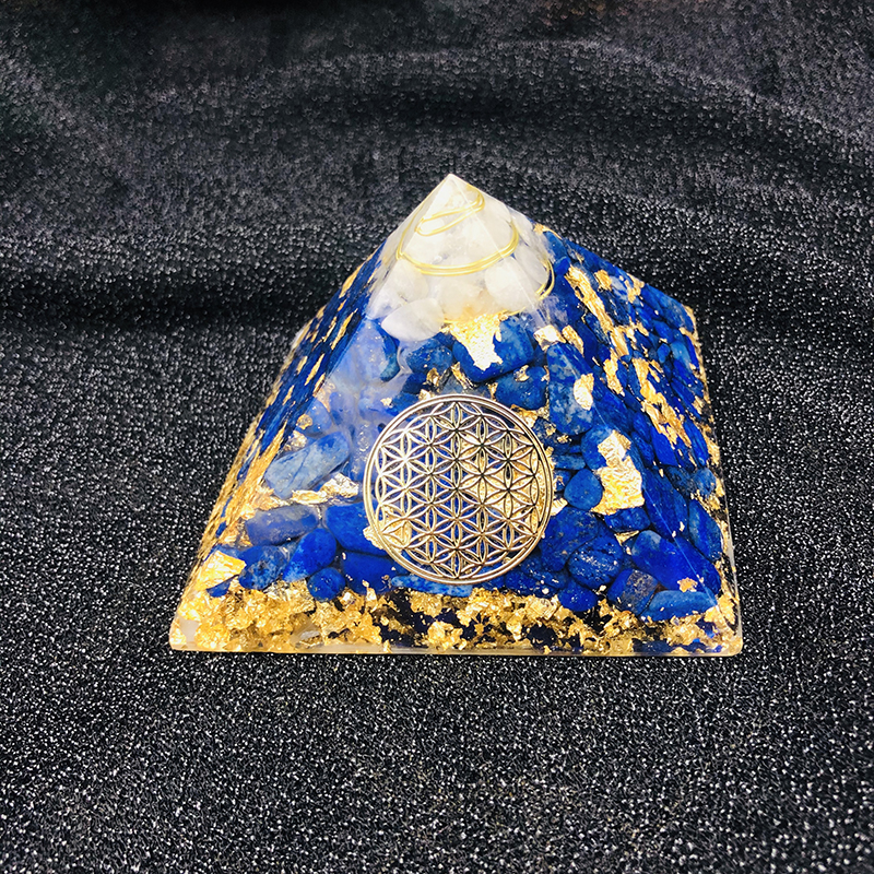 3.5 Inch Orgonite Pyramid Vishuddha Chakra Zadkiel Lapis Blue Natural Crystal Resin Decorative Craft Jewelry C0144