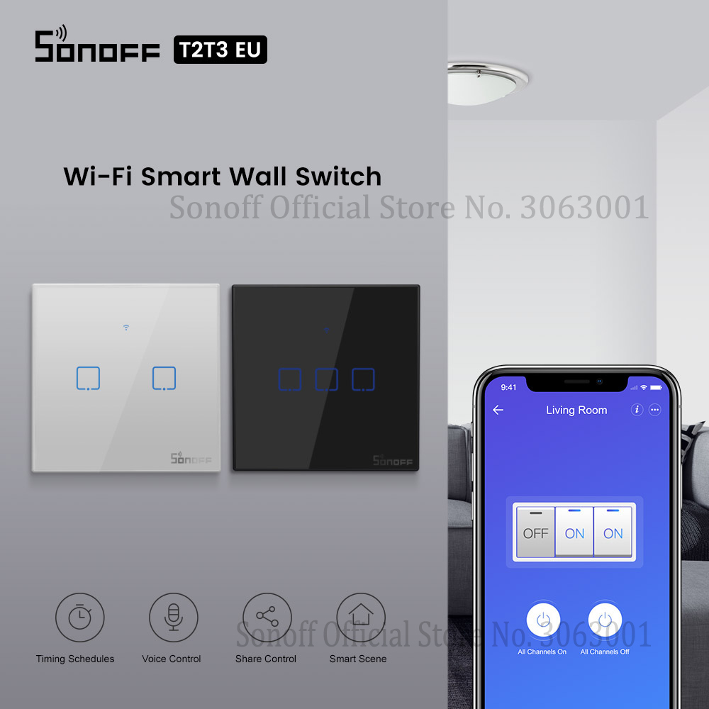 SONOFF T2 T3 Black EU Wifi Light Switch Smart Wall Touch Switches APP/433 RF Remote Conrtol Switch Wireless 1/2/3 Gang Switch