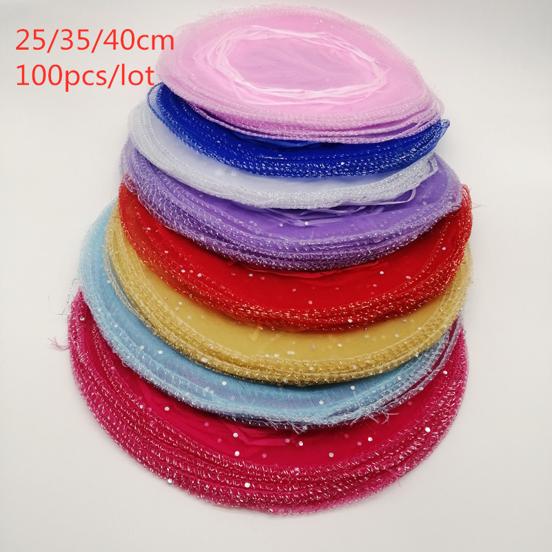 100pcs Diameter 25cm/35cm/40cm Round Drawstring Organza Jewelry Bags Jewellery Bag Jewelry Pouches Jewelry Packaging Display Bag