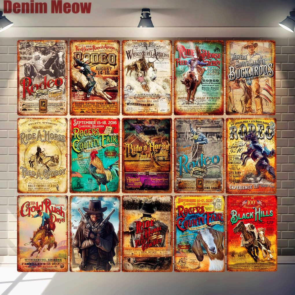 Rodeo Retro Metal Tin Signs Ride Horse Art Poster Bar Pub Cafe Wall Plates Feed Cowboy Gold Rush Plaque Vintage Home Decor N304
