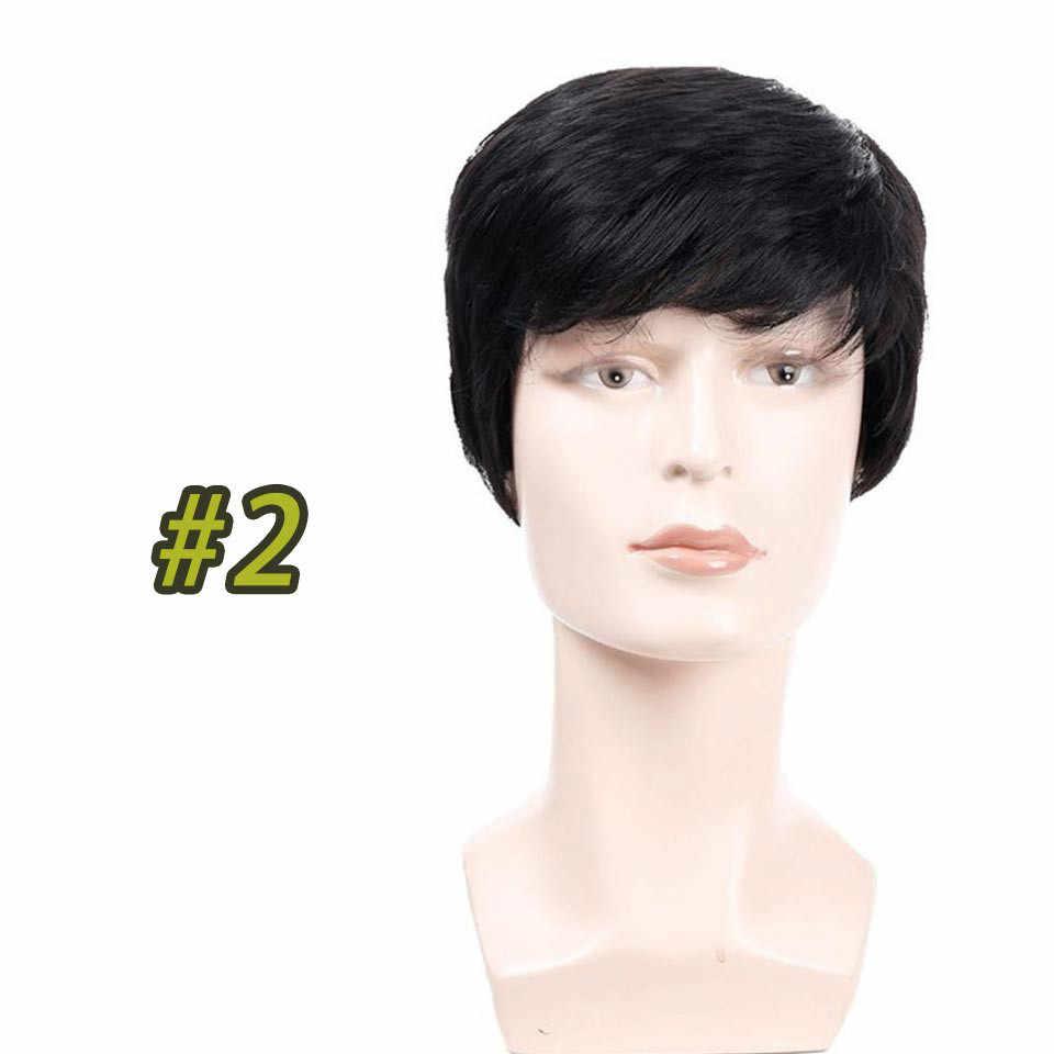 DIFEI Hoge temperatuur fiber synthetische pruik mannen korte rechte hair met pony bruin pruiken
