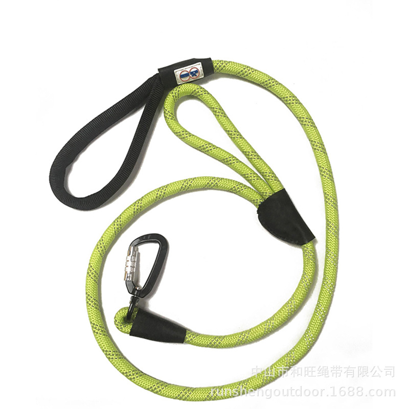 Pet Supplies Reflective Round Rope Dog Hand Holding Rope Safety Lock Button Pet Rope Nylon Double Handle Hand Holding Rope