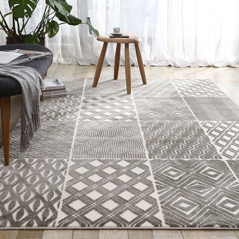 INS populaire décoration salon tapis grande taille gris géométrique villa zone tapis, style nordique grande taille chevet tapis, - 4