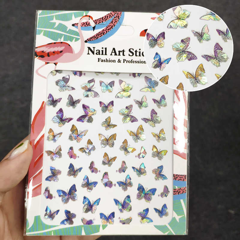 1pc Butterfly Nail Sticker Fantasy Laser Color Butterfly Nail Decal Designs Manicure Nail Decoration Tool