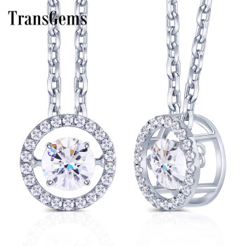 Transgems 14K 585 White Gold Center 1ct Carat 6.5mm F Color Moissanite Floating Setting Pendant Necklace for Women Gold Jewelry 1