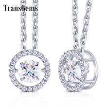 Transgemmes 14K 585 or blanc Center 1ct Carat 6.5mm F couleur Moissanite flottant réglage pendentif collier pour femmes bijoux en or