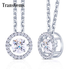 Transgems 14K 585 White Gold Center 1ct Carat 6.5mm F Color Moissanite Floating Setting Pendant Necklace for Women Gold Jewelry