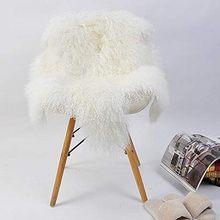 Grand tapis en laine de mouton à poils longs, luxueux, en peau d'agneau véritable, fourrure de mouton bouclée, à poils longs