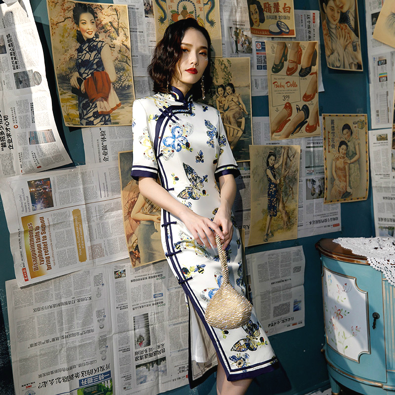 Sheng Coco Women Butterfly Pattern Chinese Dress Traditional Qipao Long Sleeve Cheongsam Chinese Style Evening Dress Clothing