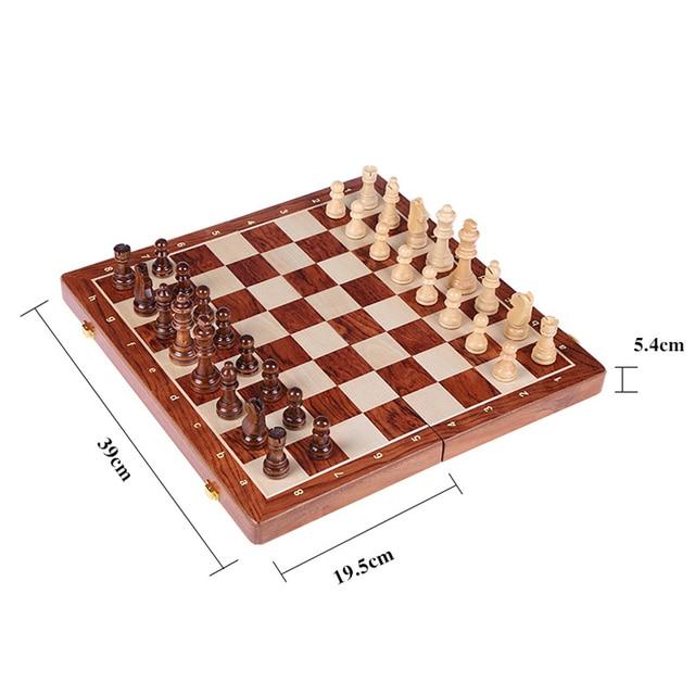 Jeu d'échecs en bois noyer massif, pliable de 78MM - cadeau idéal 3