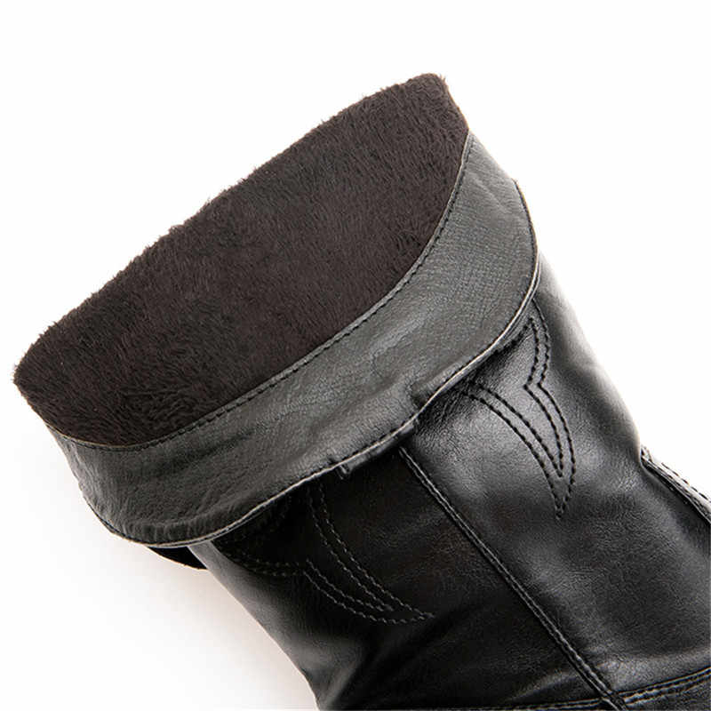 Odetina Kadın Tıknaz Orta Topuk Çekin Cowgirl Kovboy Çizmeleri Oyalamak Kış Batı Sivri Burun Orta Buzağı Sekmeler Çizmeler Büyük boyutu 46