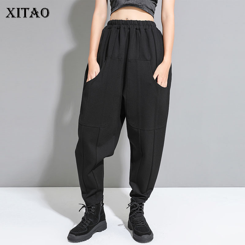 XITAO High Waist Black Full Length Pants Women Pleated Elastic Waist Elegant Pocket 2019 Autumn Wind Cold Harem Pants WQR1903