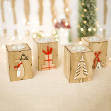 LHX Mini Wooden Candlestick Candle Light Ornament Home New Year Christmas Party Decoration Accessories HP1716 dd(China)