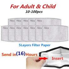 50/100Pcs 5 Lagen Filter Gezichtsmaskers PM2.5 Activated Carbon Gezichtsmasker Filter Ademen Insert Beschermende Voor Volwassenen kids