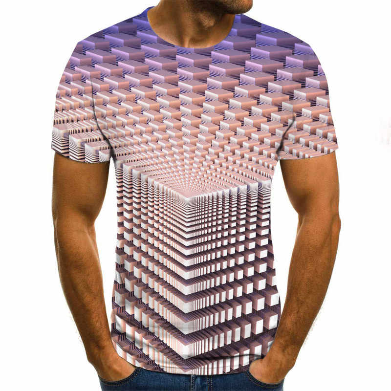 Tridimensional vortex hombres camiseta 3D impreso verano cuello redondo Casual divertida camiseta
