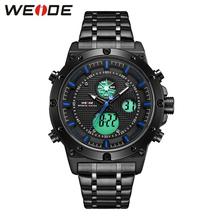 WEIDE zegarek męski tryt Luminous zegarek Relogio Masculino zegarek kwarcowy wodoodporny analogowy luksusowa marka analogowe cyfrowe męskie zegarki tanie tanio 12 5cm SPORT Podwójny Wyświetlacz QUARTZ 3Bar Składane zapięcie z bezpieczeństwem CN (pochodzenie) STAINLESS STEEL