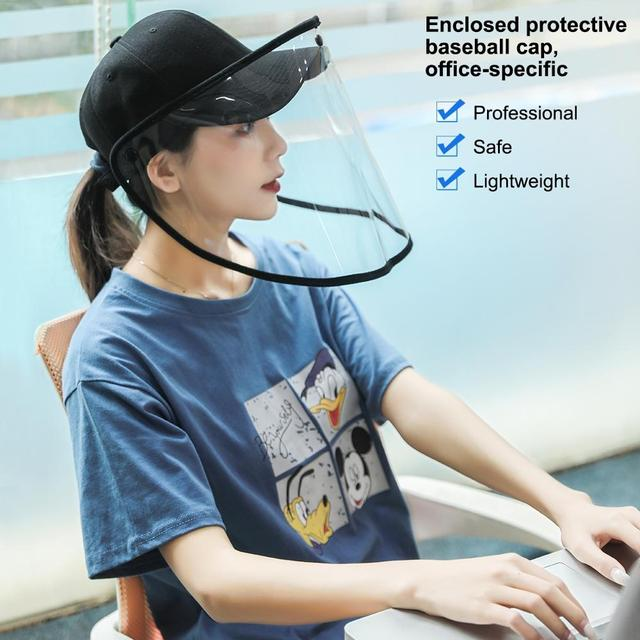 PULUZ Outdoor Protective Baseball cap Anti-saliva Full Face Mask Cover Hat Safety Face Shield Removable Transparent Face Cover 5