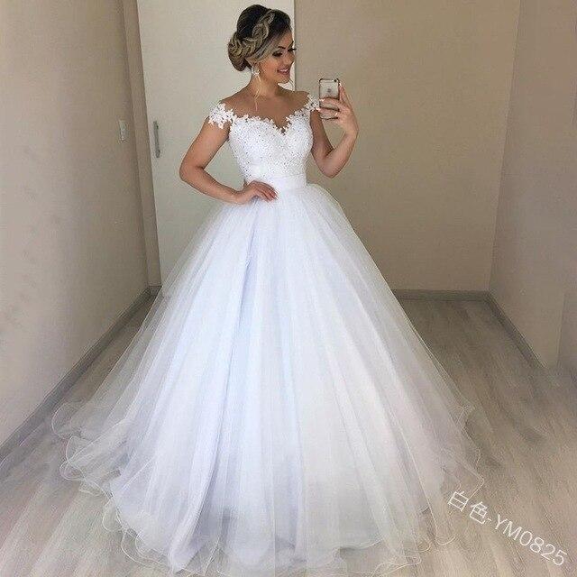 Elegant Lace 2 in 1 Wedding Dress Soft Tulle Detachable Train Bride Dresses Robe de Mariee Wedding Party Dance Gown