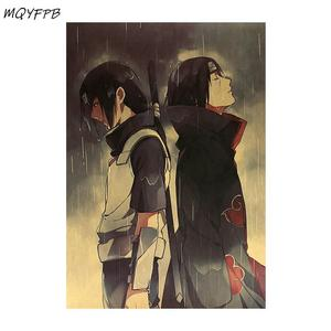 Anime Naruto Uchiha Itachi Kraft Paper Poster Wall Stickers Home Decoration Painting Room Picture 50.5x35cm