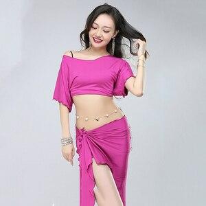 Image 2 - חדש ריקודי בטן תלבושות אישה בטן ריקוד סט מודאלית למעלה & צעיף ירך בטן ריקוד ביצועים ללבוש חצאית