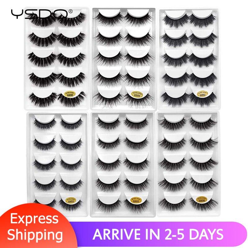 YSDO Lashes 5 Pairs Eyelashes Natural False Lashes Mink Eyelashes 3d Mink Hair Lashes Eyelash Extension Long Eyelashes Cilios G8