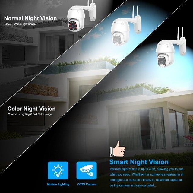PTZ Speed Dome WIFI IP Camera 1080P 5MP Outdoor 5X Zoom Wireless Camera 8pcs Led IR 30m Two Way Audio CCTV Surveillance Camhiapp 3
