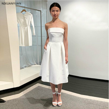 New Arrival Short Wedding Dresses With Pockets Top Quality Satin White Ivory Simple Tea Length Bridal Dress For Summer Wedding фото