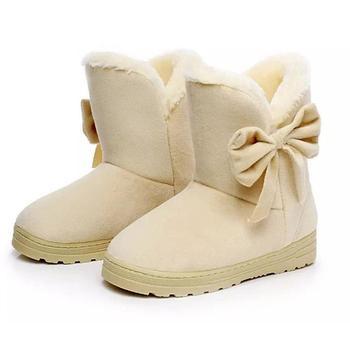 Kobiety buty platforma antypoślizgowe buty futrzane buty Bowtie pluszowy zamsz ciepłe buty motylkowe zimowe buty na śnieg WJ007 tanie i dobre opinie Amduine Sztuczny zamsz Połowy łydki Butterfly-knot Stałe Dla dorosłych Mieszkanie z Buty śniegu Pluszowe Flock Okrągły nosek