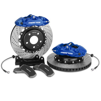 Mattox Brake Kit Slotted Drilled Brake Disc 330-28mm 4POT PISTON Caliper FOR Focus  (5 Lug) 2004 2010  (4 Lug) 2005 2006