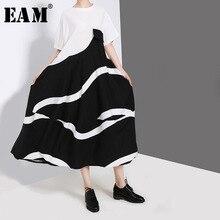 [EAM] Women Black Striped Split Joint Contrast Color Dress New Round Neck Short Sleeve Loose Fit Fashion Spring Autumn 2019 JZ42 split contrast trim dress