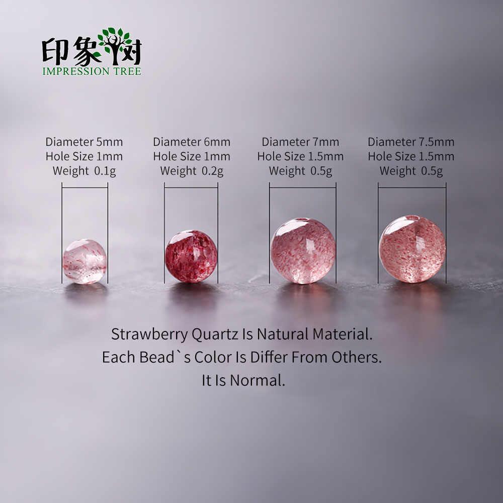 1pcs טבעי תות קוורץ עגול Loose חרוזים 5/6/7/7.5mm אבן קריסטל חרוזים שרשרת צמיד DIY תכשיטי תכונות 2968