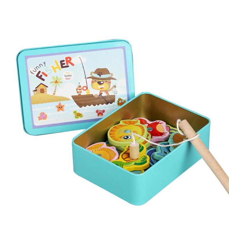 15pcs Fish Wooden Magnetic Fishing Toy Set Magnet Game Children Educational GIfts For Intelligence Development