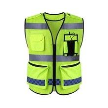 Бегущий отражающий жилет высокая видимость светоотражающий жилет безопасности рабочий светоотражающий жилет много карманов Спецодежда спасательный жилет для мужчин