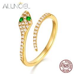ALLNOEL 2019 nouveau solide 925 bague en argent Sterling pour les femmes vert Zircon diamant serpent anneaux Design ouvert luxe or Fine bijoux