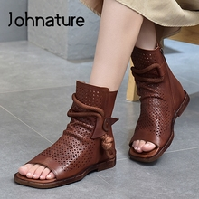 Summer Shoes Women Sandals Johnature Handmade Flat Genuine-Leather Sewing Zip Retro