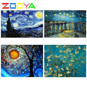 ZOOYA Diamond Painting Van Gogh Sky Full Drill Diamond Embroidery Pattern Rhinestones Diamond Mosaic Decor Set Needlework RF761