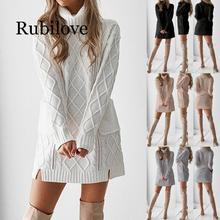 Rubilove Women Winter Sweater Knit Turtleneck Warm Long Sleeve Pocket Sexy Mini Dress women summer sexy dress