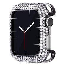 44mm bling caso para apple watch 6 se 5 4 3 bezel capa 40mm 38mm metal jóias de proteção diamante amortecedor feminino menina acessórios