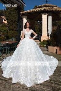 Image 3 - KEENRYAN Sexy Lace Wedding Dress 2020 Long Sleeve Scoop Robe De Mariee Custom Make Chaple Train Vestido De Novia Wedding Gowns